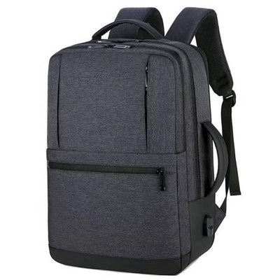 MEINAILI 1908-WL 15.6 Nylon Multi-function Business Waterproof Laptop Backpack - USB Outport - Dark