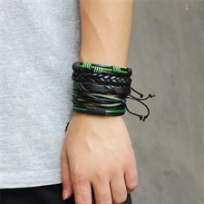 Leather Bracelet For Men (Greeen/Black)