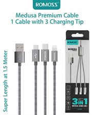 Romoss Medusa Series 3-in-1 Universal Charge Cable In Space Grey