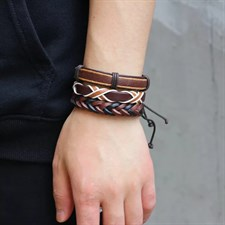 Leather Bracelet with Braided rope